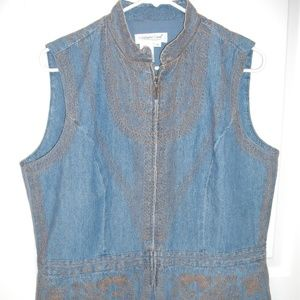 ColdWater Creek  Sleeveless Denim Embroidery Vest